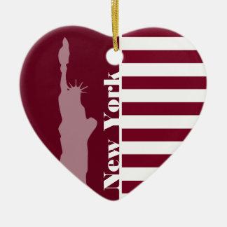De Strepen van Bourgondië; New York Keramisch Hart Ornament