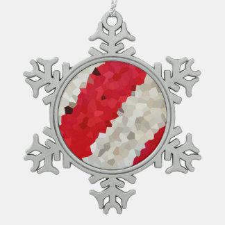 De Strepen van de Vakantie van het Tin Sneeuwvlok Ornament