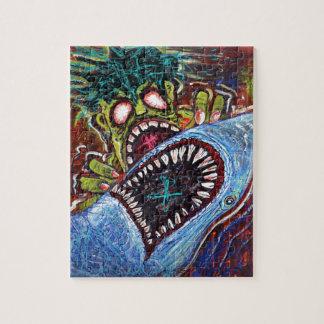 De Strijd van de Haai van de zombie Legpuzzel