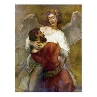 De strijd van Jacob met de engel door Rembrandt Briefkaart
