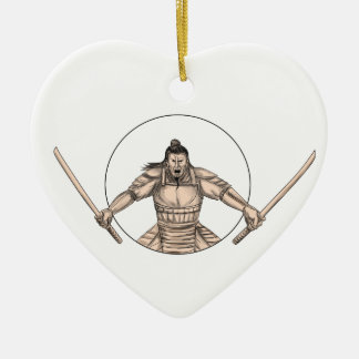 De Strijder die van samoeraien het Tattoo van Twee Keramisch Hart Ornament