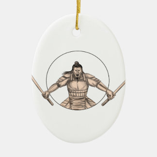 De Strijder die van samoeraien het Tattoo van Twee Keramisch Ovaal Ornament