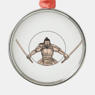 De Strijder die van samoeraien het Tattoo van Twee Zilverkleurig Rond Ornament