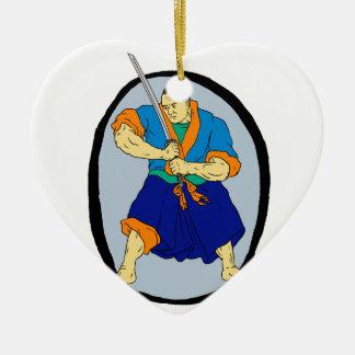 De Strijder Katana Enso van samoeraien Keramisch Hart Ornament