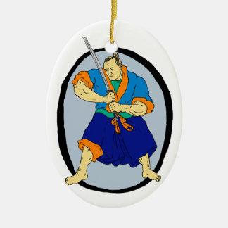 De Strijder Katana Enso van samoeraien Keramisch Ovaal Ornament
