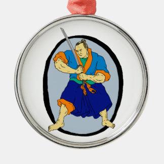 De Strijder Katana Enso van samoeraien Zilverkleurig Rond Ornament