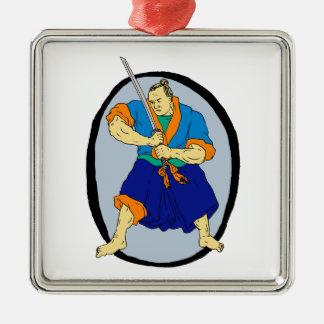 De Strijder Katana Enso van samoeraien Zilverkleurig Vierkant Ornament