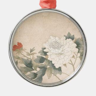 De Studie van de bloem - Yun (Chinese) Bing Zilverkleurig Rond Ornament