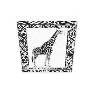 De studie van de giraf in Afrikaanse stijl Stretched Canvas Afdruk