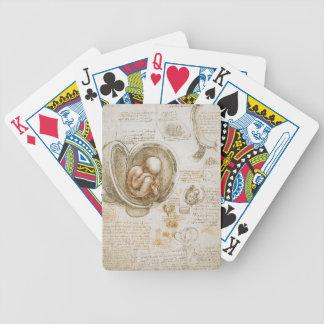 De Studies van Leonardo da Vinci van het Foetus in Poker Kaarten