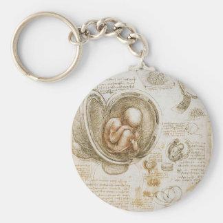 De Studies van Leonardo da Vinci van het Foetus in Sleutelhanger