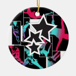 De stunts van Cheerleading Rond Keramisch Ornament