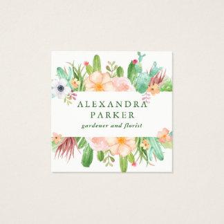 De Succulente Bloemen van de modieuze Waterverf Vierkante Visitekaartjes