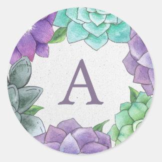 De succulente BloemenStickers van het Monogram | Ronde Sticker