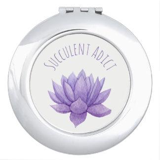 De Succulente Compacte Spiegel van de paarse Reisspiegeltjes