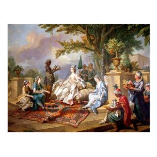 De sultanarozijn door haar Eunuchs wordt gediend Briefkaart