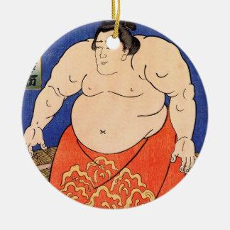 De Sumo Worstelaar, Kuniyoshi Utagawa Rond Keramisch Ornament