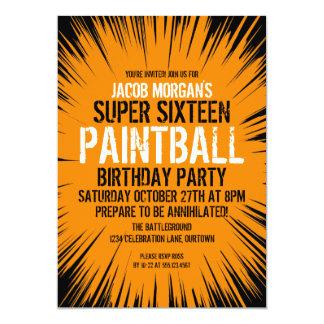 De super 16 Uitnodigingen van de Partij Paintball