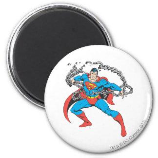 De superman breekt Kettingen 2 Ronde Magneet 5,7 Cm