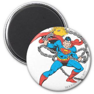De superman breekt Kettingen 3 Ronde Magneet 5,7 Cm