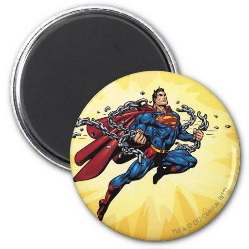 De superman breekt kettingen koelkast magneetje