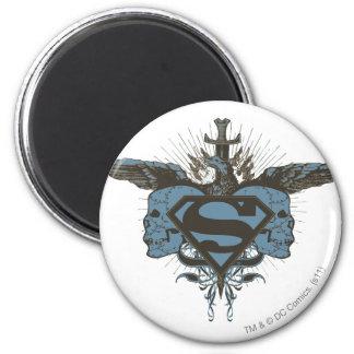 De superman stileerde de Schedels van   - Blauw Ronde Magneet 5,7 Cm