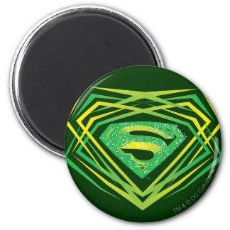 De superman stileerde het Groene Decoratieve Logo Ronde Magneet 5,7 Cm
