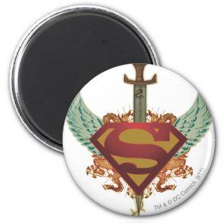 De superman stileerde het Logo van de Vleugels van Ronde Magneet 5,7 Cm