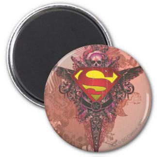 De superman stileerde het Logo van het Ontwerp Ronde Magneet 5,7 Cm
