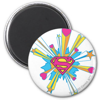 De superman stileerde het Roze van   met het Logo Ronde Magneet 5,7 Cm