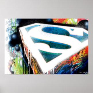 De superman stileerde het Stedelijke Logo Graffiti Poster