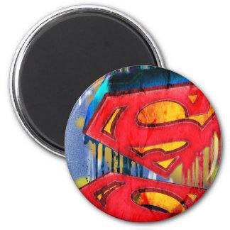 De superman stileerde het Stedelijke Logo Ronde Magneet 5,7 Cm