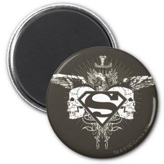 De superman stileerde Logo van de Schedels van   Ronde Magneet 5,7 Cm