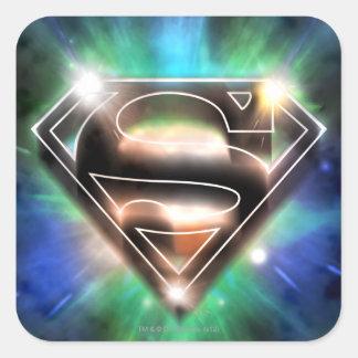 De superman stileerde Logo van de Uitbarsting van Vierkante Sticker