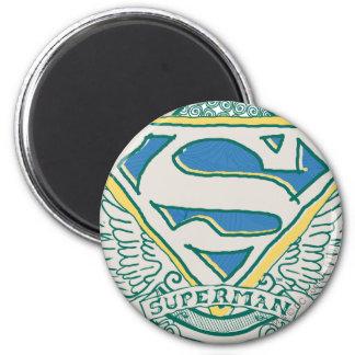 De superman stileerde   schetste het Logo van Ronde Magneet 5,7 Cm