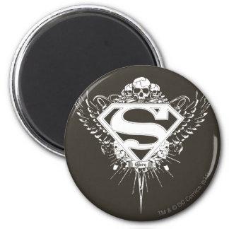 De superman stileerde van | Donker Bruin Logo Als Ronde Magneet 5,7 Cm