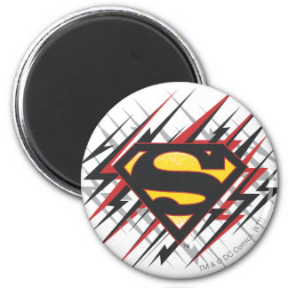 De superman stileerde Zwarte   en het Rood slaat Ronde Magneet 5,7 Cm