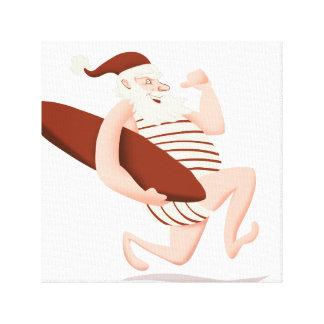 De surfen-kerstmanClaus van de Kerstman Canvas Afdruk