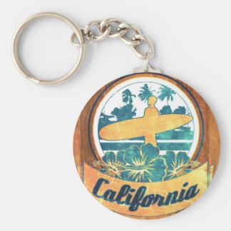 De surfplank van Californië Basic Ronde Button Sleutelhanger
