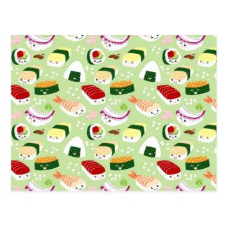 De Sushi van Kawaii met gezichten Briefkaart