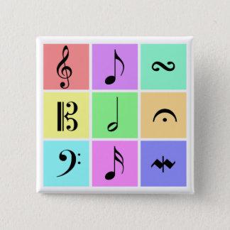 de symbolen van de pastelkleurmuziek vierkante button 5,1 cm