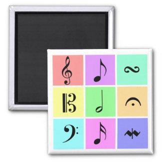 de symbolen van de pastelkleurmuziek vierkante magneet