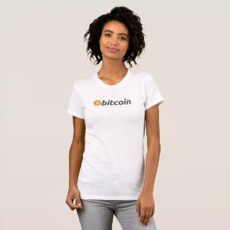 De t-shirt van Bitcoin met oranje en wit logo