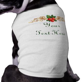 De t-shirt van de Hond van Kerstmis van de douane Mouwloos Hondenshirt
