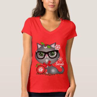 De T-shirt van de Kat van Kerstmis van Hipster van