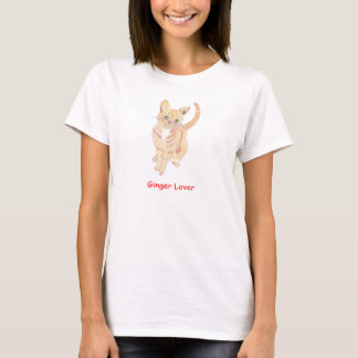De T-shirt van de Minnaar van de Kat van de gember