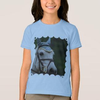 De T-shirt van het leuke Witte Meisje van het Pony