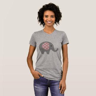 De T-shirt van vrouwen met Grijze/Roze Olifant