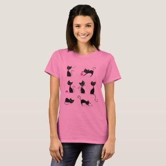 De t-shirtroze van dames met leuke Katten T Shirt