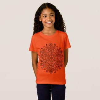 De t-shirtsinaasappel van meisjes met Mandala T Shirt